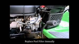 how to change a john deere lawn mower fuel filter youtube