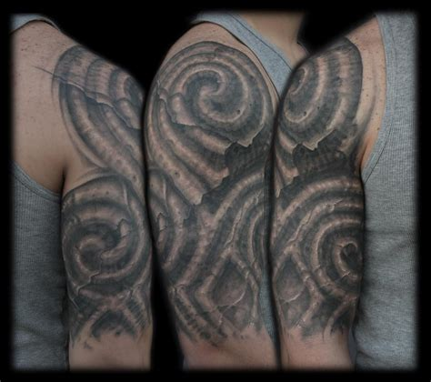 half sleeve tattoos designs black and grey black and grey celtic bio organic half sleeve by