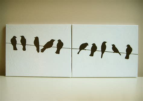 and white wire black and white birds on a wire acrylic painting by