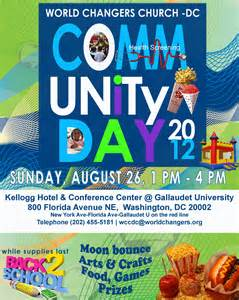 community event flyer template world changers church community day sunday august 26
