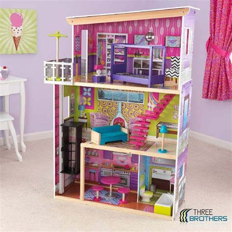 wood barbie doll house new kidkraft 3 story dollhouse wood doll house fits barbie 12 wooden furniture ebay