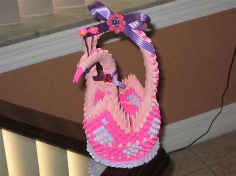 3d Origami Basket Tutorial - basket swan 3d origami by esmeraldaarribas on deviantart
