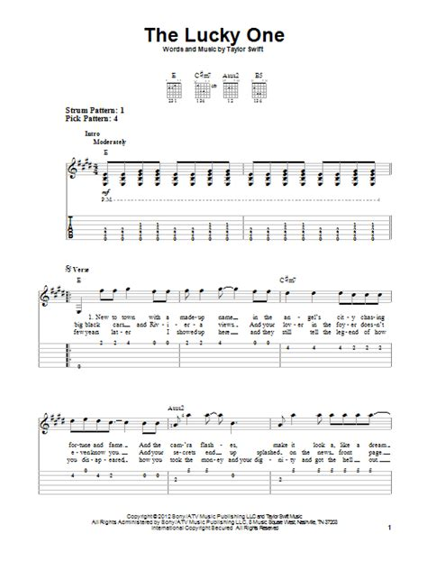 taylor swift chords lucky one the lucky one by taylor swift easy guitar tab guitar