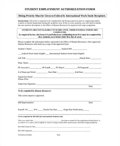 employment authorization form sle employment authorization form design templates