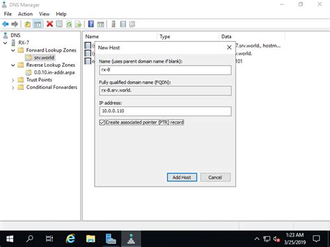 windows server  dns server add aptr record