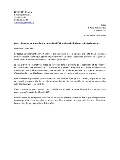Lettre De Motivation Stage Technicien Laboratoire Lettre De Motivation Stage Laboratoire Document