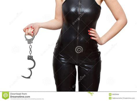 Dominatrix Holding Handcuffs Closeup Stock Photo   Image