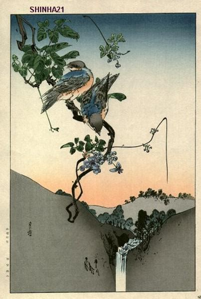 japanese art prints google search japanese art gesso yoshimoto blue birds and akebia japanese art open