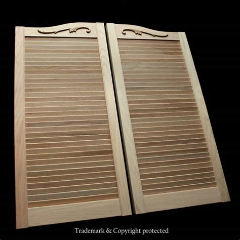 louvered swinging doors oak cafe doors louvered 2 6 scroll 30 quot swinging doors