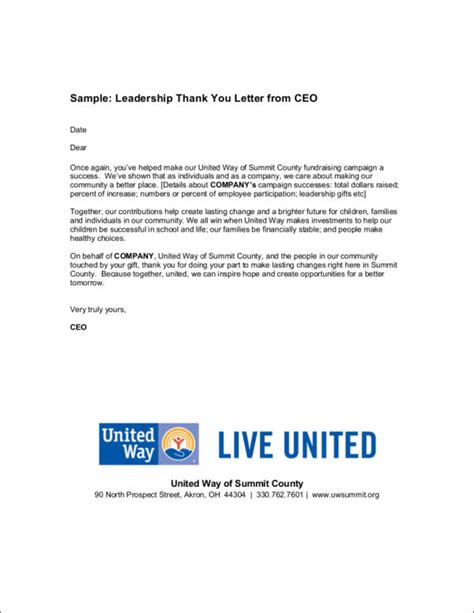 Thank You Letter Ceo 13 thank you letter sles templates in pdf