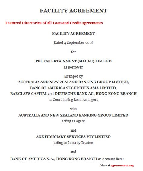 Credit Facility Template Facility Agreement Sle Facility Agreement Template