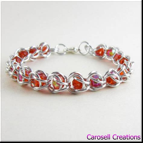 captured bead chainmaille captured bead chain maille bracelet crystals by