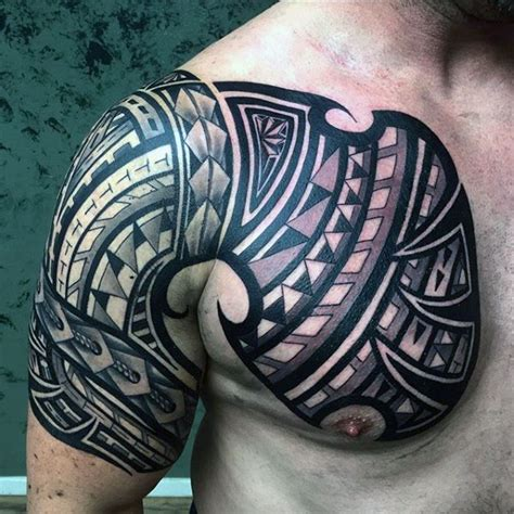 tribal chest to arm tattoo 75 tribal arm tattoos for interwoven line design ideas