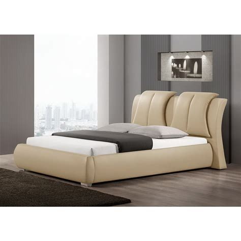 modern padded headboard baxton studio malloy warm beige modern bed with