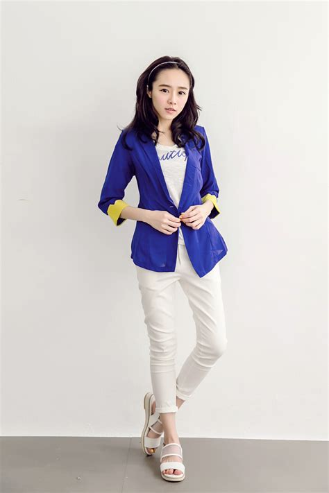 Blazer Fashion Korea tokyo fashion womens contrast color chiffon blazer japanese korean fashion ebay