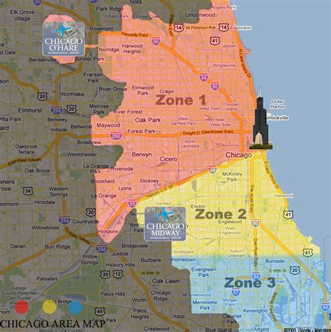 chicago zone map chicago ohare midway airport limousine service to