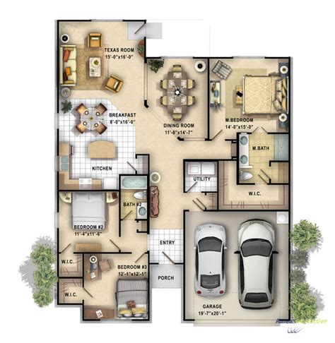 home design 3d double story 2d color floor plan of a single family 1 story home