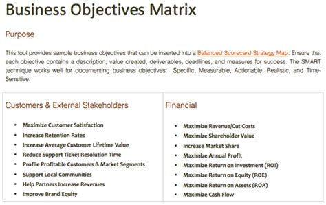 Business Objectives Template business objective statement exles 28 images goal and