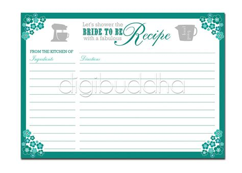 5x7 recipe card template for word recipe card bridal shower teal aqua floral 5x7 4x6 3 5x5 diy
