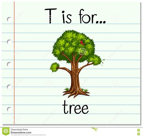 t is for tree a letter of the week preschool craft flashcard letter t is for tree stock vector image 72047211