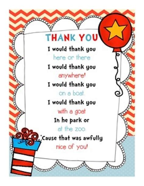thank you letter to pre k dr seuss read across america thank you note freebie by