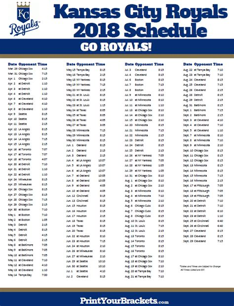 Printable Royals Schedule | printable kansas city royals baseball schedule 2018