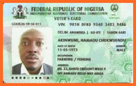 voter id card template list of nigeria official recognized national id cards