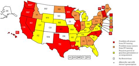 tanning bed laws by state indoor tanning restrictions for minors a state by state