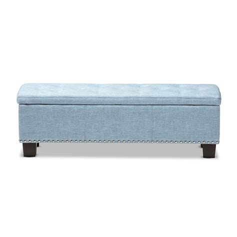 Light Blue Ottoman Baxton Studio Modern And Contemporary Light Blue Fabric Upholstered Button Tufting