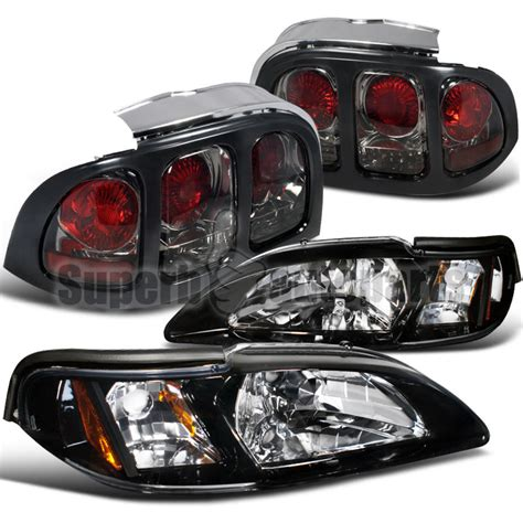 1994 ford mustang headlights 1994 1998 ford mustang glossy black headlights