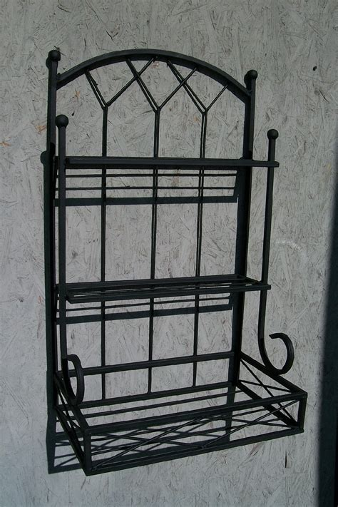 Wrought Iron Planter Box by Wrought Iron 2 Tiered Wall Shelf With Planter Box