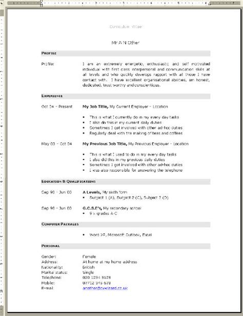 layout for cv in uk professional cv template
