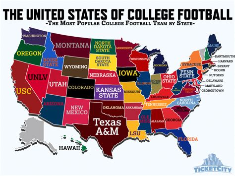 map us football teams the united states of college football the most popular