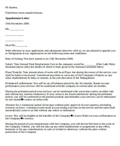 simple appointment letter format doc 24 sle appointment letters in doc