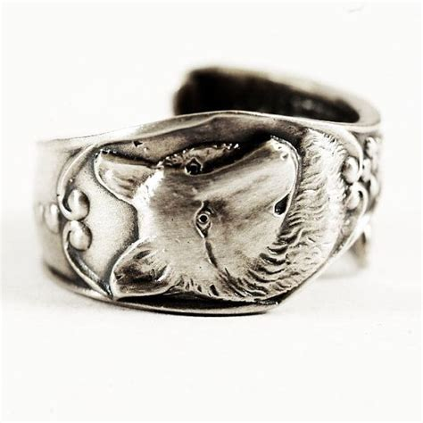 spoon ring nouveau sterling silver wolf spoon ring