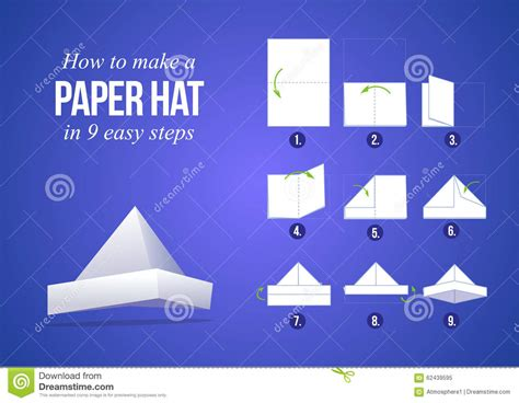 How To Make A Paper Hat Step By Step - how to make a paper hat stock vector