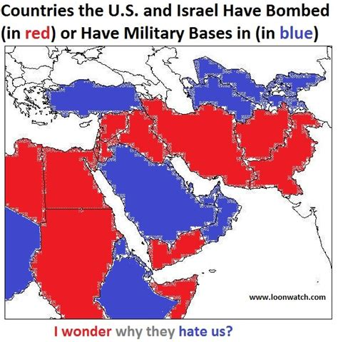 how many towns are in the us map of countries us israel have bombed or in which us has