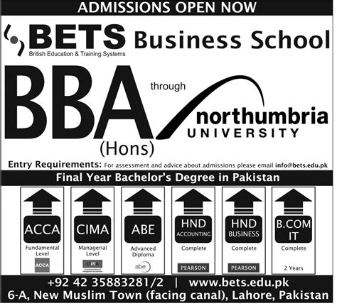 Mba Honors Subjects by Bets Lahore Business School Admission 2018 Bba Bcom Acca