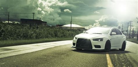white mitsubishi evo wallpaper clouds cars photography mitsubishi sunlight tuning
