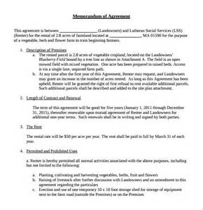 Mou Contract Template by Sle Memorandum Of Lease Agreement 9 Free Documents
