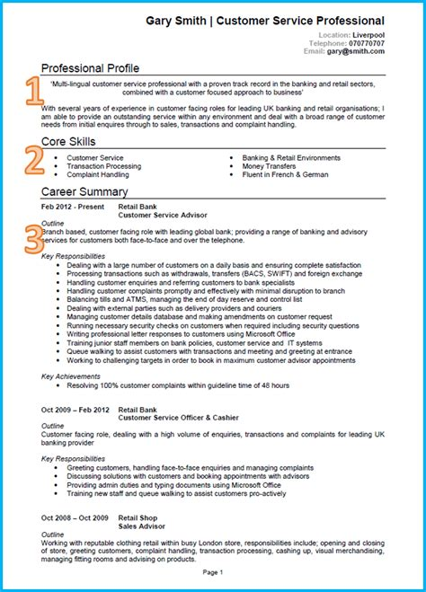 Sample Resume Format With Achievements by Example Of A Good Cv