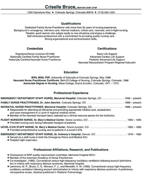 Nursing School Resume practitioner resume exle novice np