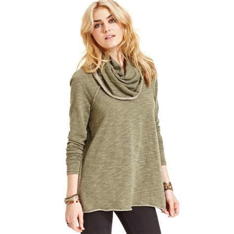 Cowl Neck Sweater lyst free cowl neck sweater in green