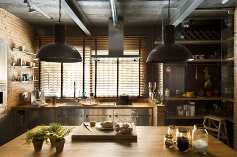 industrial home with interior planting and transparent walls - Industrial Kitchen
