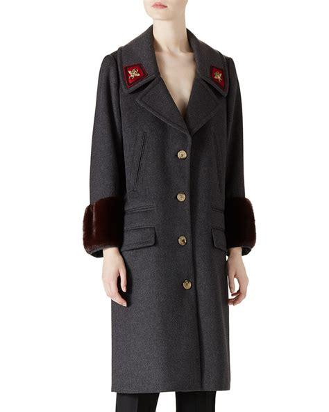 Gucci Overcoat lyst gucci wool mink overcoat in gray