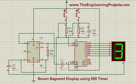 Counter Isi 3 seven segment display using 555 timer in proteus