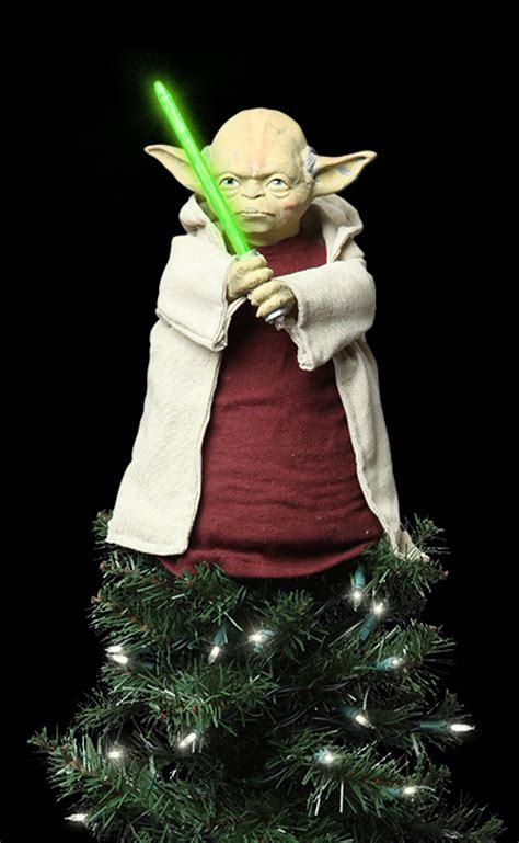 star wars lighted yoda tree topper thinkgeek