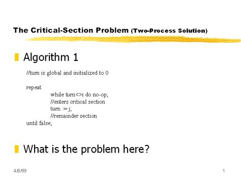 critical section the critical section problem two process solution