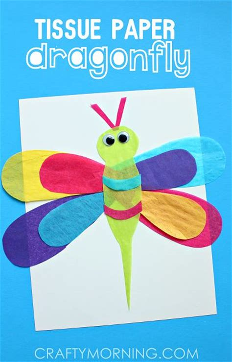 Dragonfly Paper Craft - dragonfly crafts tissue paper and crafts for on