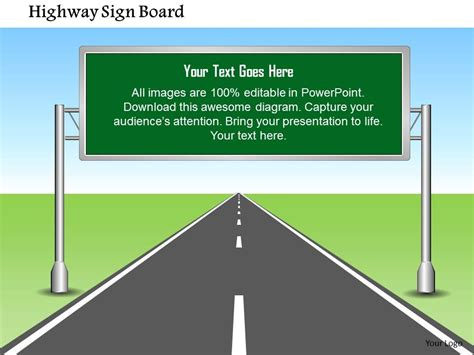 1114 Highway Sign Board With Editable Text Powerpoint Presentation Powerpoint Slide Images Editable Road Sign Template